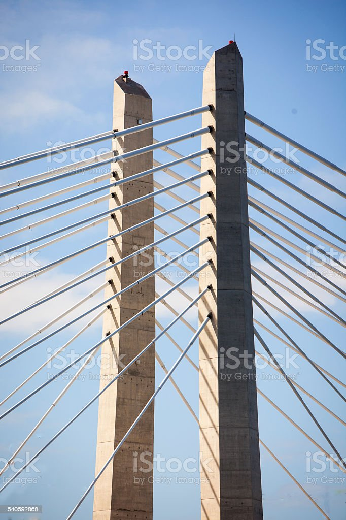 Detail of the Tilikum Bridge in Portland Oregon stock photo