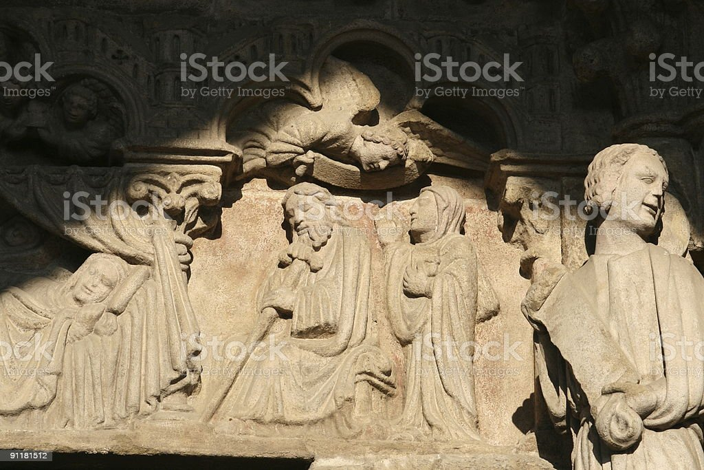 Detail of the Tui?s cathedral porch, Spain royalty-free stock photo