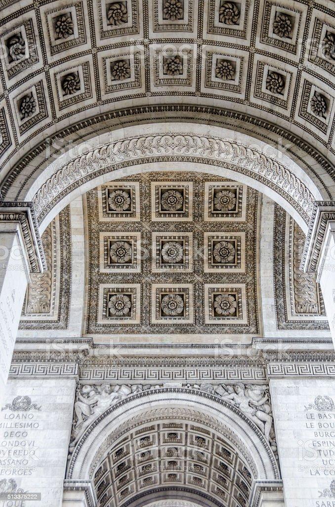 Detail of the underneath of the Arc de Triumph stock photo