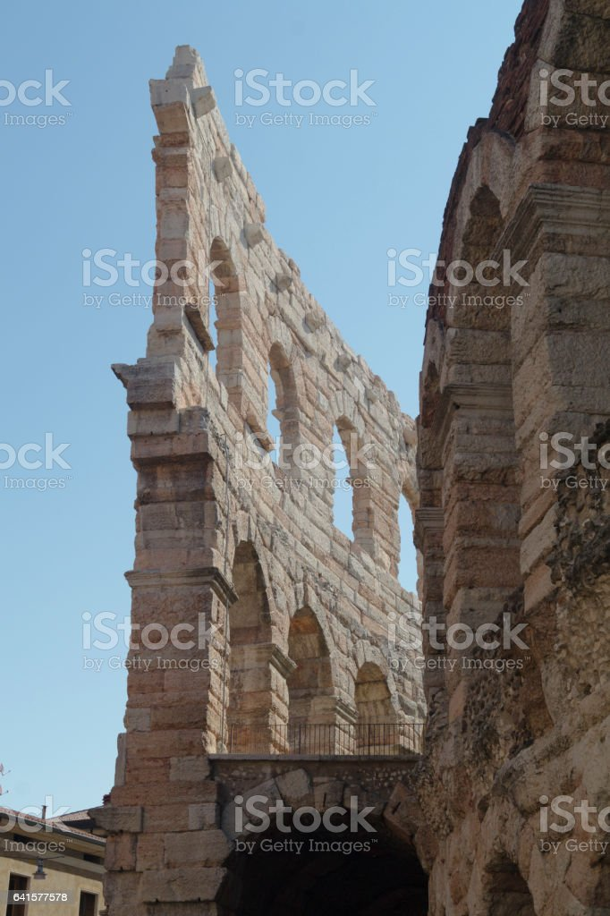 A detail of the Verona Arena stock photo