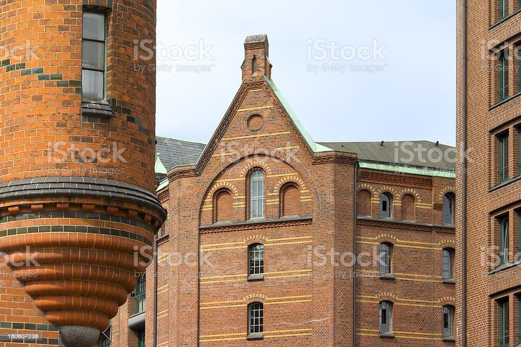 Detail of the warehouse district Speicherstadt, Hamburg. stock photo