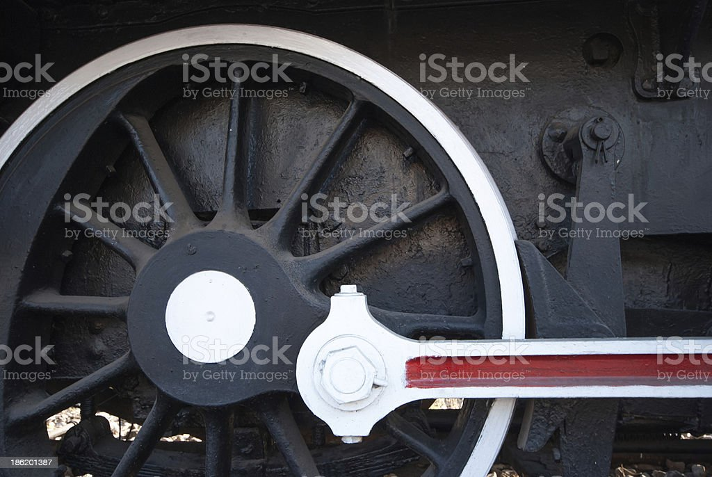 Detail of the wheels on a steam train royalty-free stock photo