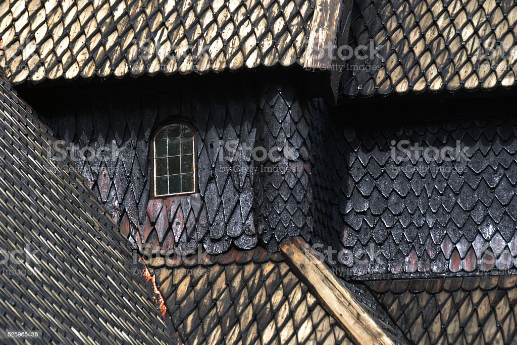 Detail of the wooden church in Lom, Noway stock photo