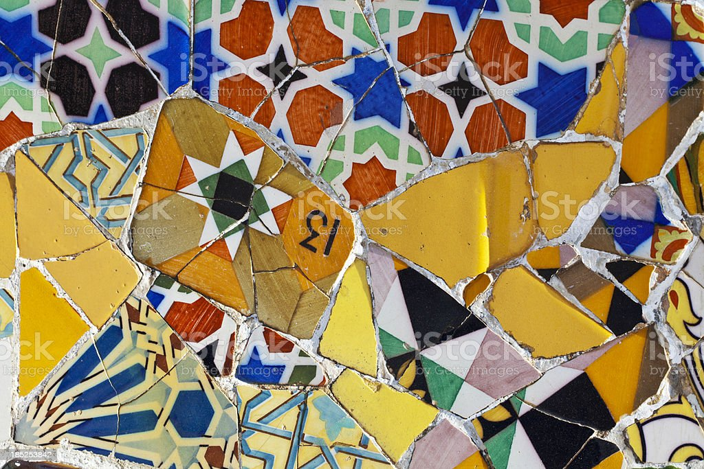 Detail of tiles in Park Guell royalty-free stock photo