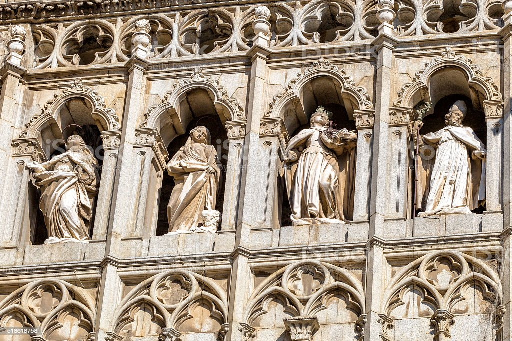 Detail of Toledo Cathedral in sunny day, Spain. stock photo