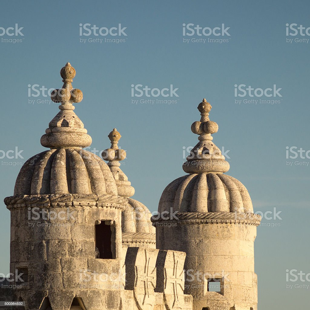 Detail of Torre de Belem Tower, Lisbon, Portugal stock photo