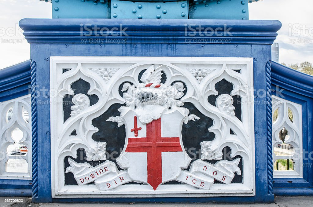 Detail of Tower Bridge showing Coat of Arms stock photo