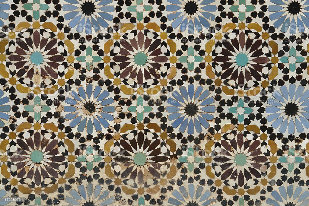 Detail of Traditional Islamic Mosaic in Morocco stock photo