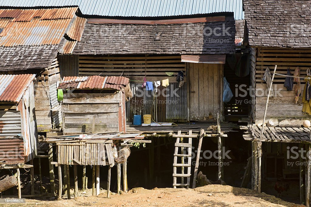 Detail of traditional longhouse in Borneo, Malaysia stock photo