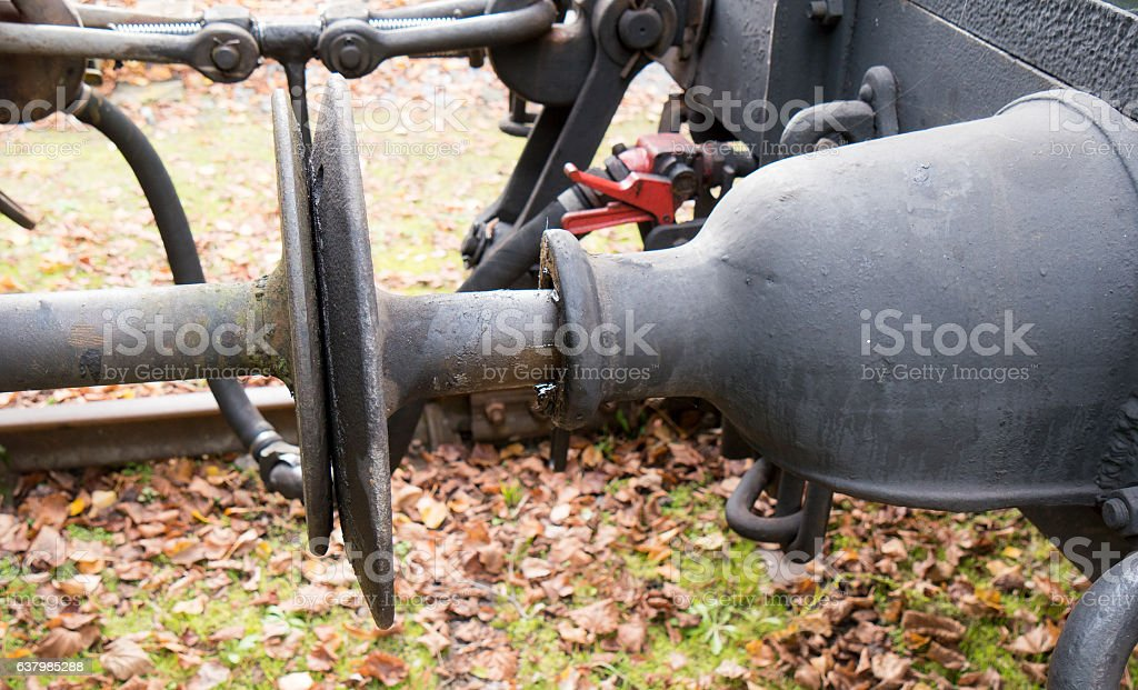 Detail of train buffers stock photo