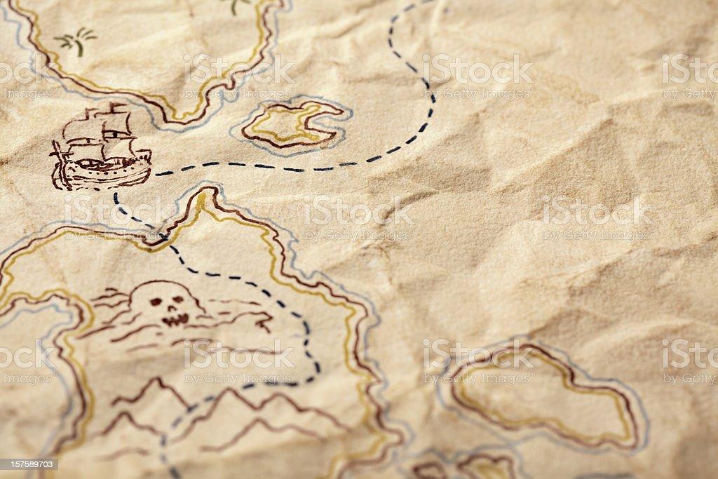 Detail of Treasure Map. Full Frame, Copy Space, Horizontal. stock photo