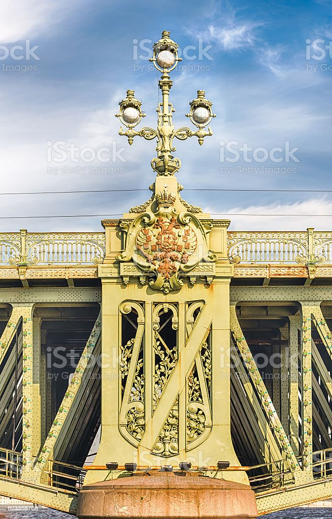 Detail of Trinity Bridge on Neva River, St. Petersburg, Russia stock photo