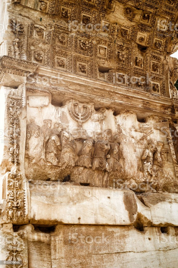 Detail of Triumphal Arch of Titus, Rome stock photo