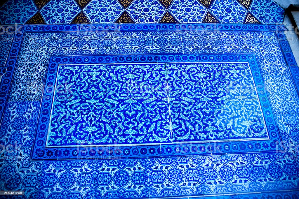 Detail of turkish tiles. stock photo