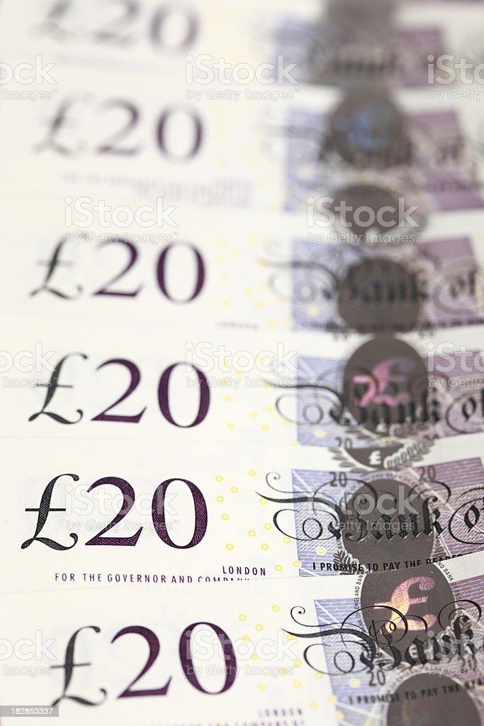 Detail of twenty pound notes. royalty-free stock photo
