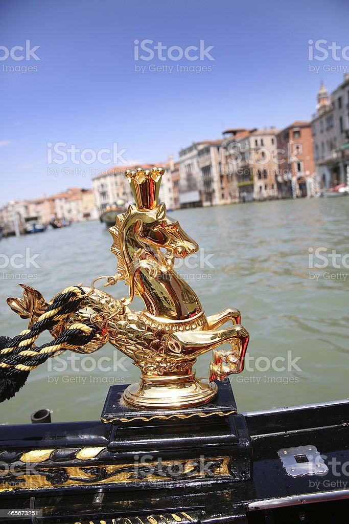 Detail of typical gondola in Venice stock photo