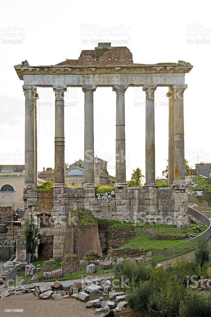 Detail of unrecognisable temple at the Fori Imperiali in Rome. royalty-free stock photo