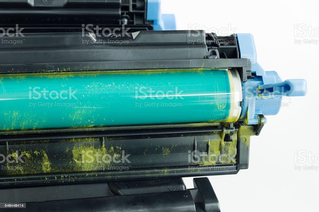 Detail of used cartridge on white isolated background stock photo