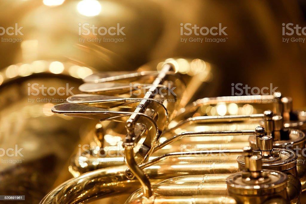 Detail of valve tubas stock photo