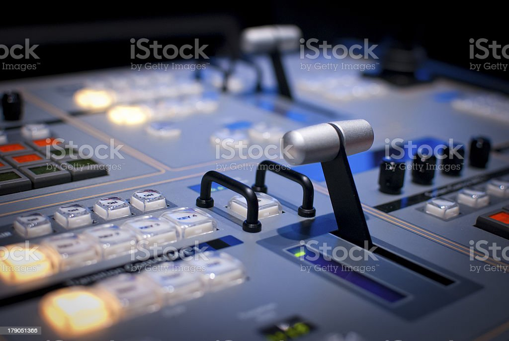 Detail of Video Production Switcher Board stock photo