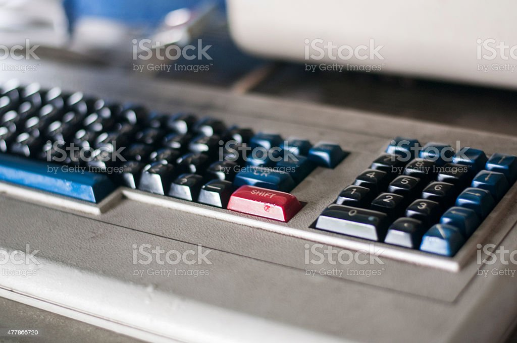 Detail of vintage computer keyboard stock photo