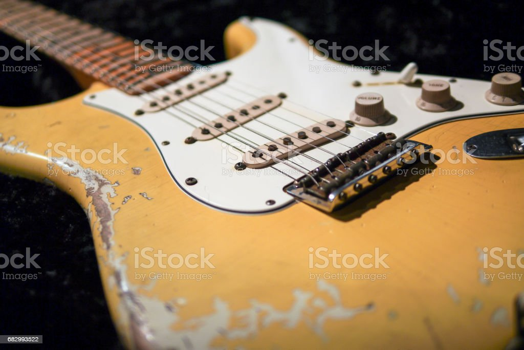 detail of vintage electric guitar pickup stock photo