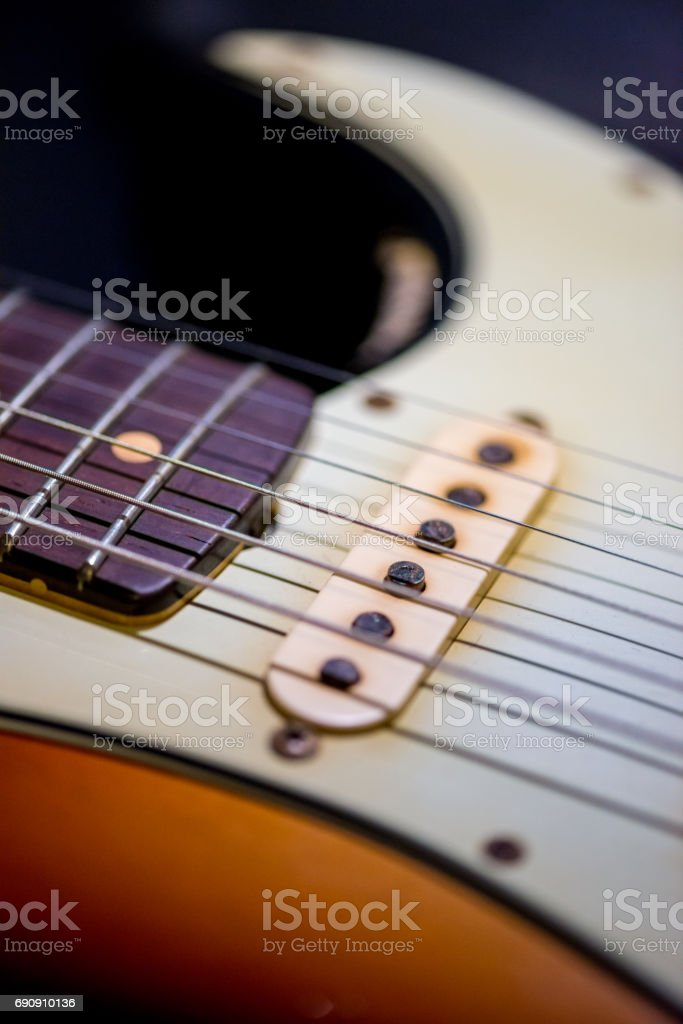 detail of vintage electric guitar stock photo