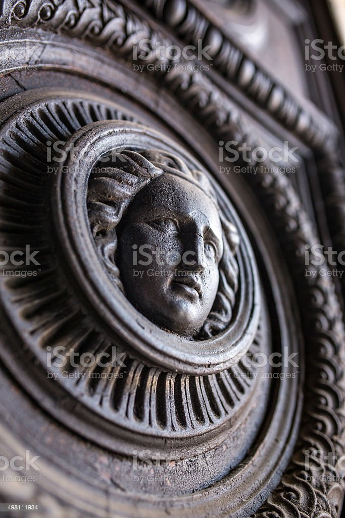 Detail of vintage wooden door stock photo