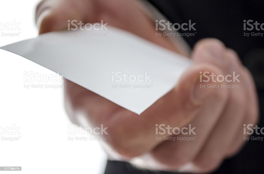 Detail of  visit card in a male hand royalty-free stock photo