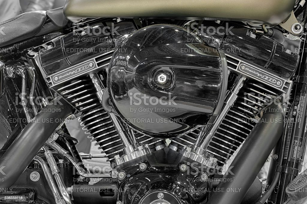Detail of V-twin engines of motorcycle Harley Davidson stock photo