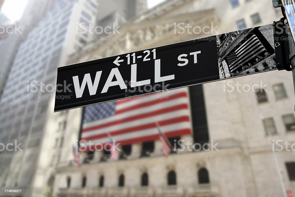Detail of Wall Street Sign stock photo