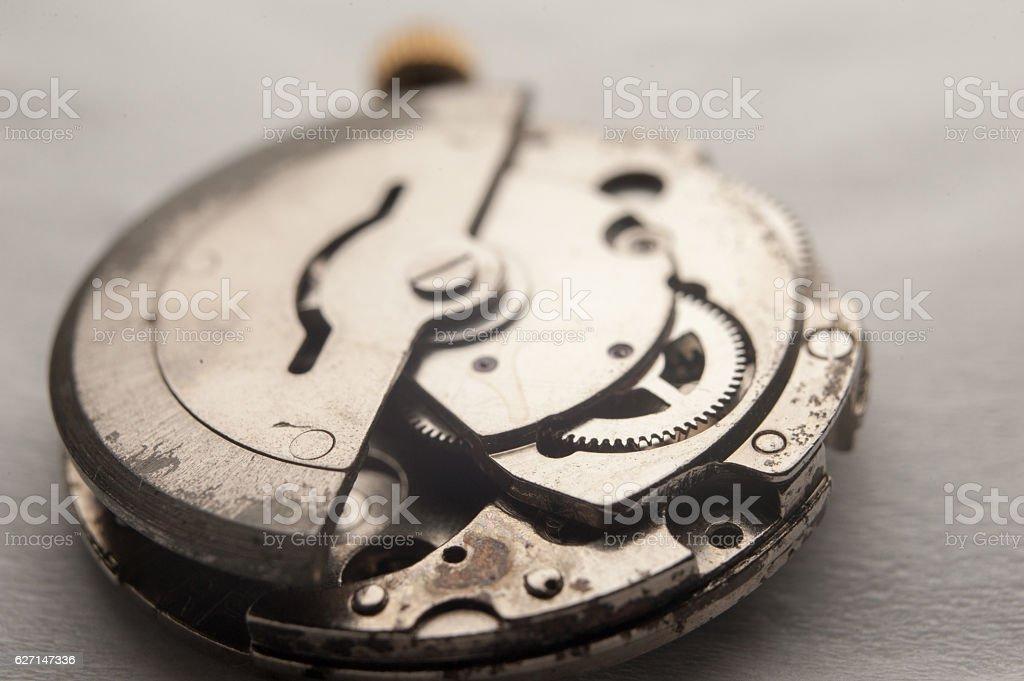 Detail of watch machinery. closeup macro shot stock photo