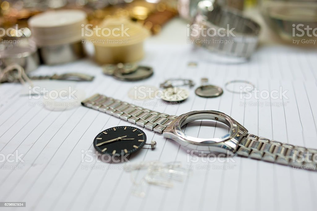 Detail of watch machinery on the table. stock photo