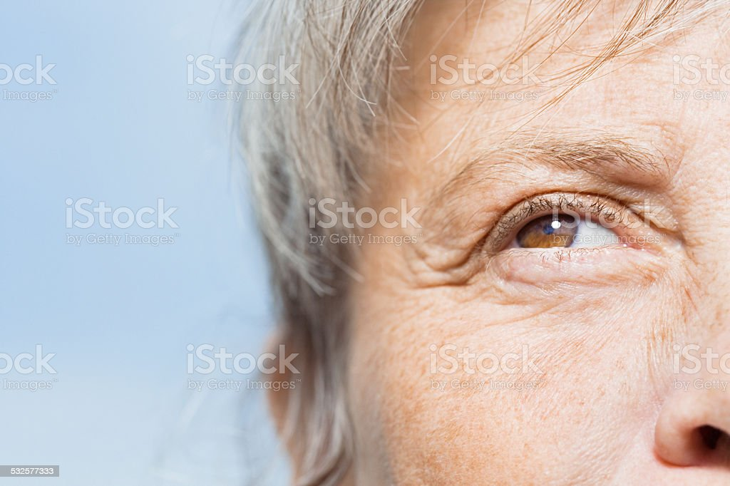 Detail of woman's face stock photo