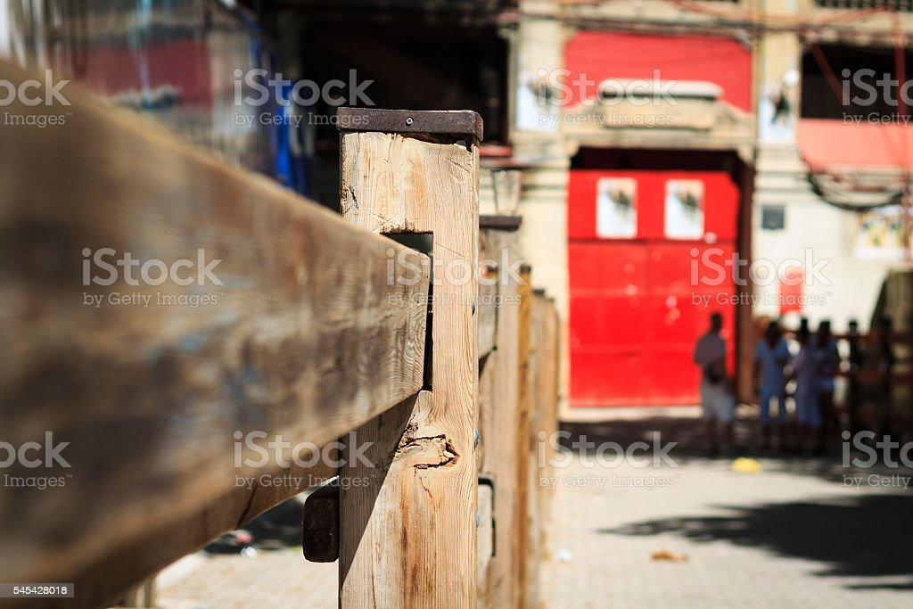 Detail of wooden fence in the closure of San Fermin stock photo