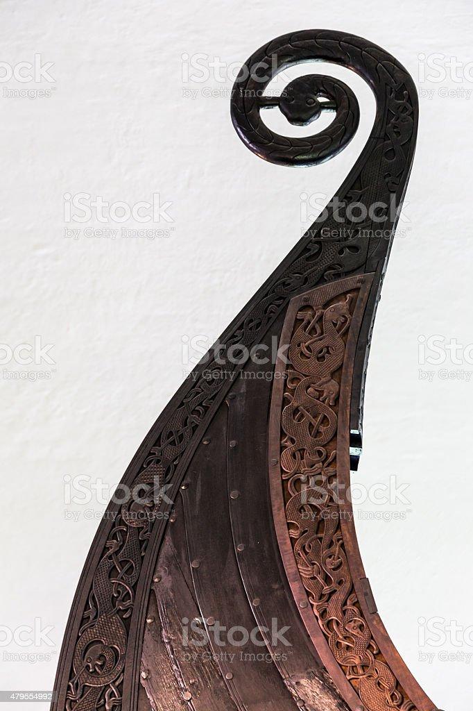 Detail of wooden Viking ship stock photo