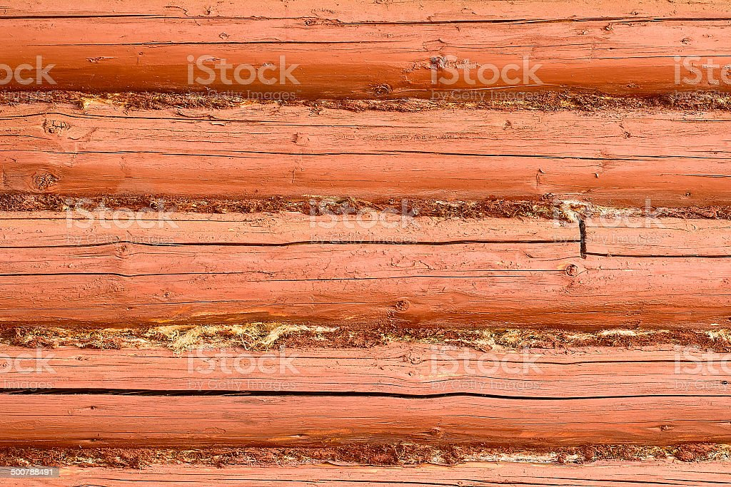 Detail of wooden wall made of logs stock photo