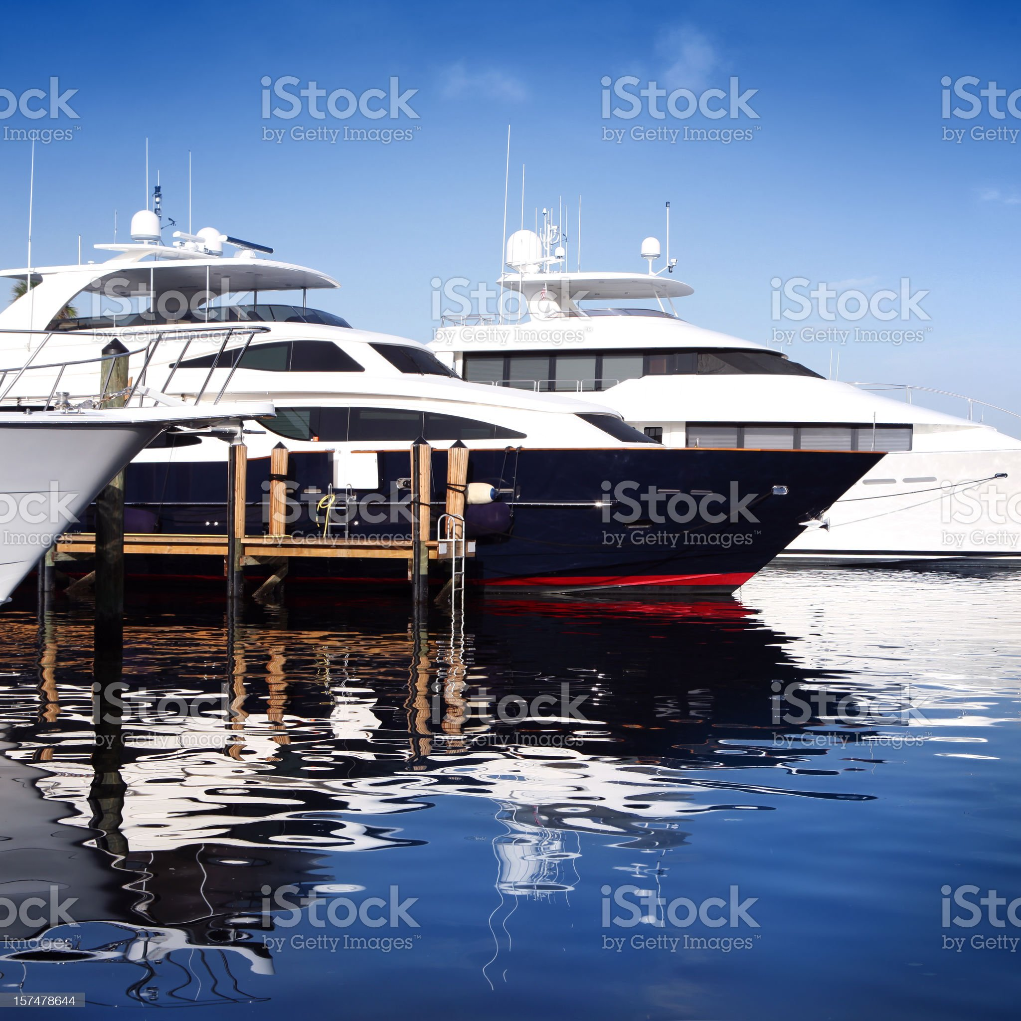 Detail of Yachts and Reflection royalty-free stock photo