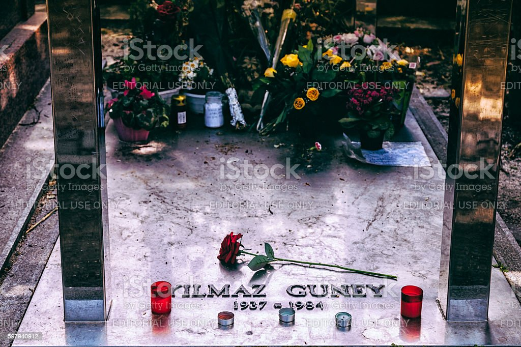 Detail of Yilmaz Guney's grave in Paris stock photo