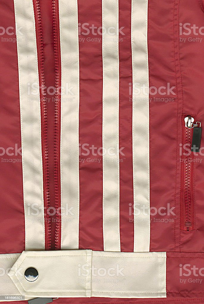 Detail of zipper on red jacket royalty-free stock photo