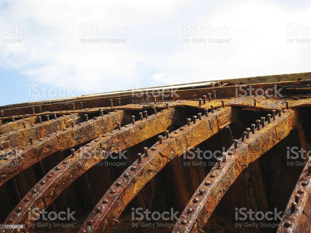 detail old rusty shipwreck royalty-free stock photo