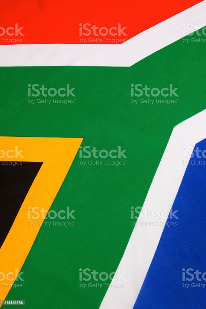 Detail on the flag of South Africa stock photo