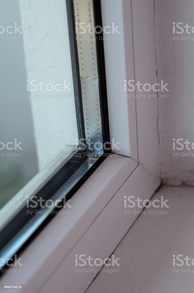 Detail photo of the window profile stock photo