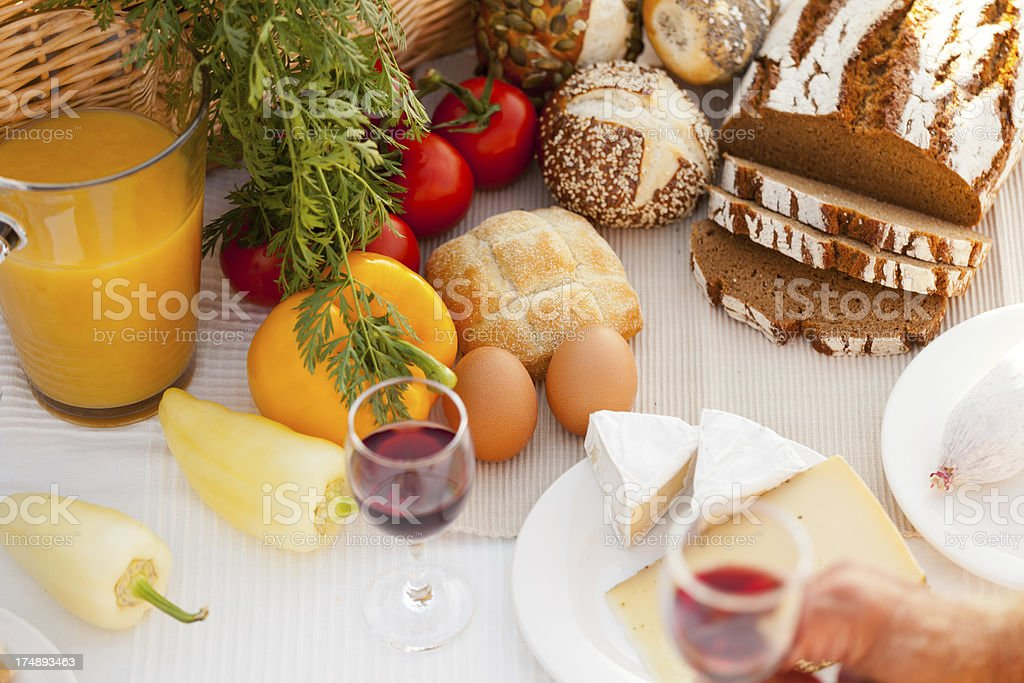 detail picnic with bread and wine royalty-free stock photo