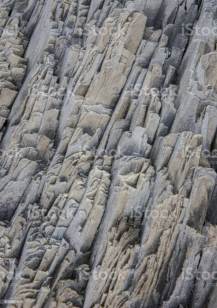 Detail Rock Vertical Pattern on Iceland stock photo