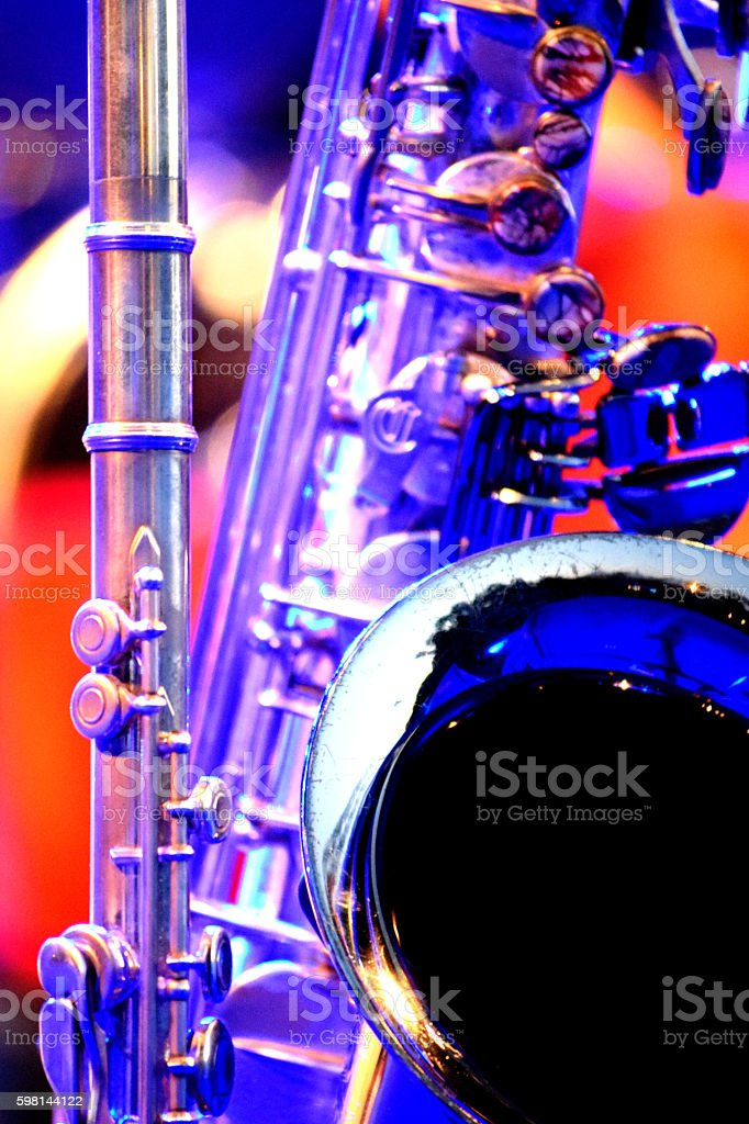 detail saxophone and flute on stage stock photo