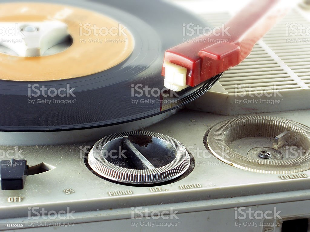 Detail shot of a record player stock photo