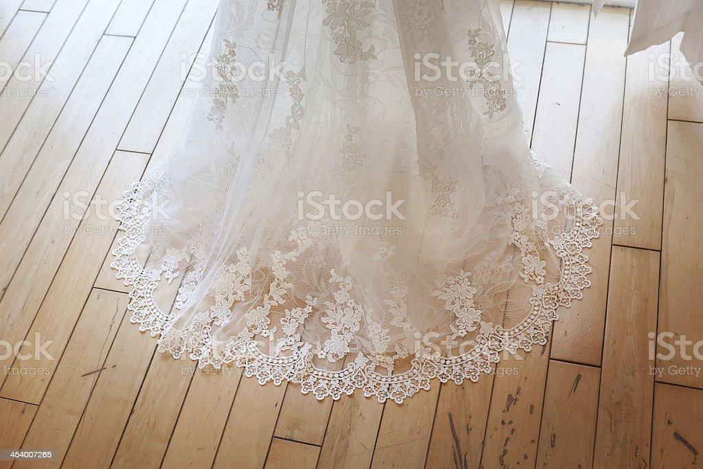 Detail shot of brides dress stock photo