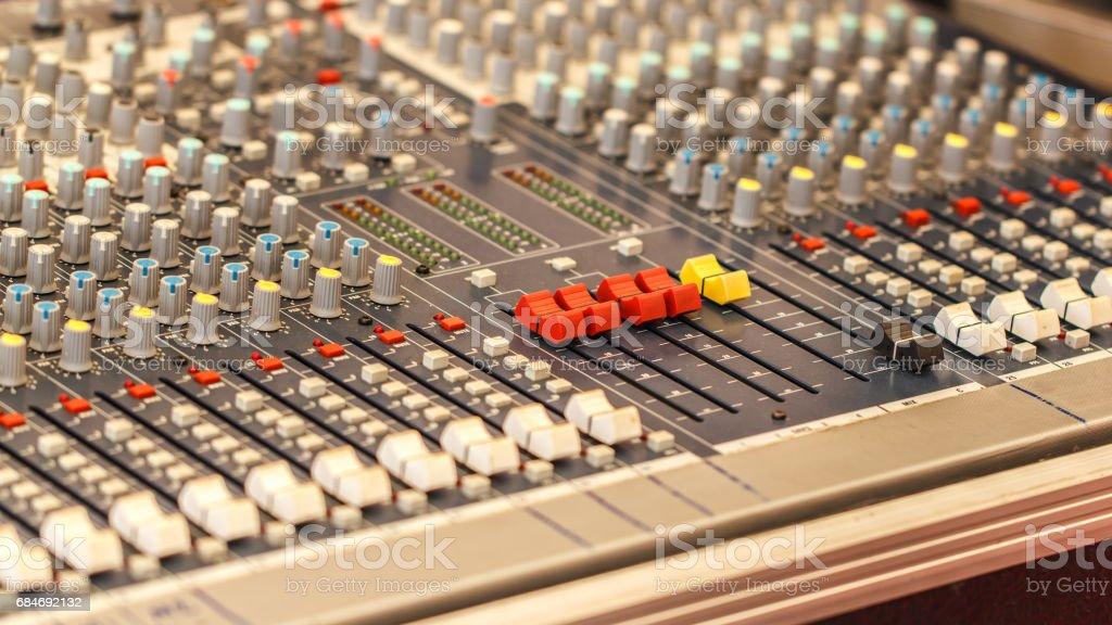 detail sound mixer closeup for mix music stock photo