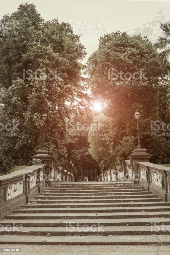 Detail staircase of the royal palace in  Naples - Italy stock photo